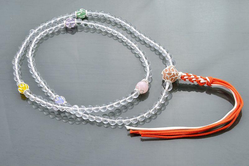 本水晶とオレンジムーンストーンのジュエリー数珠