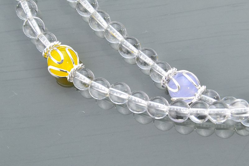 本水晶とオレンジムーンストーンのジュエリー数珠-2