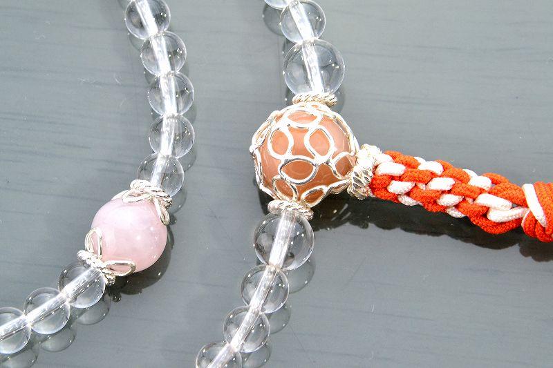 本水晶とオレンジムーンストーンのジュエリー数珠-3