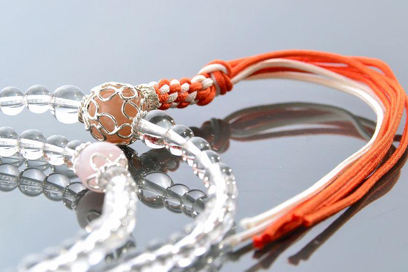 本水晶とオレンジムーンストーンのジュエリー数珠-4