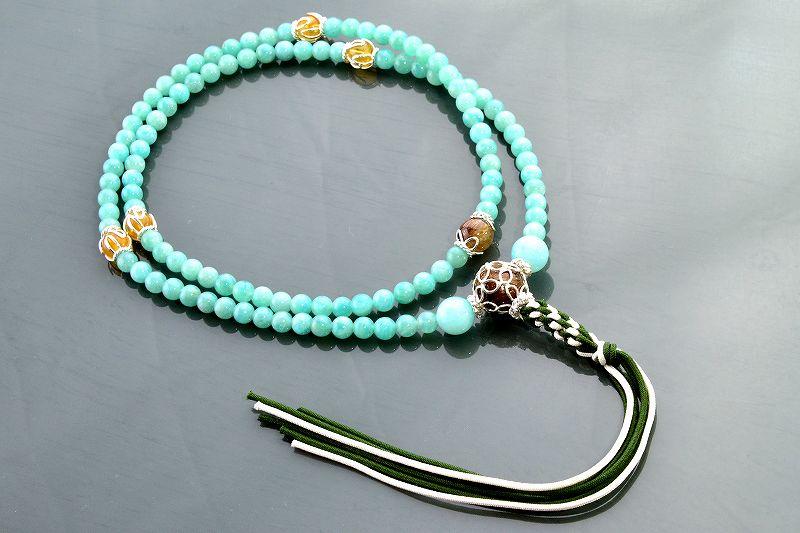 アマゾナイトとルチルクォーツのジュエリー数珠