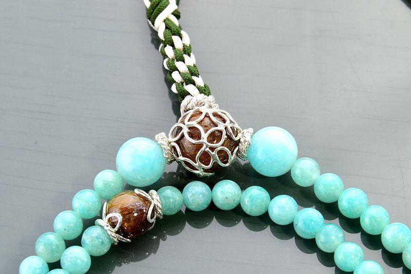 アマゾナイトとルチルクォーツのジュエリー数珠-1