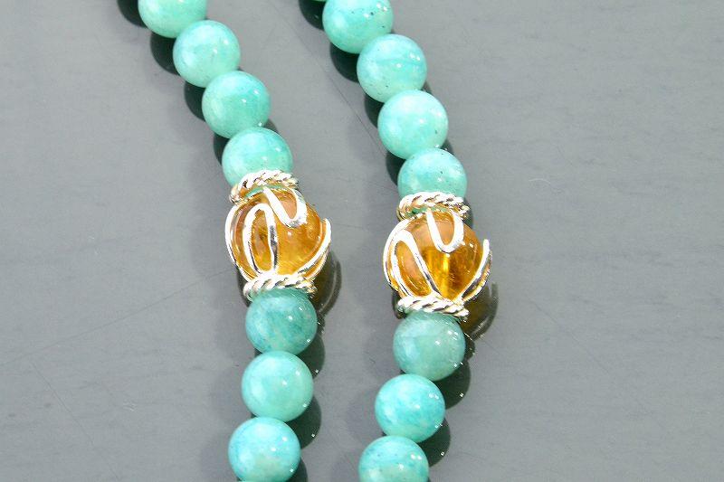 アマゾナイトとルチルクォーツのジュエリー数珠-2
